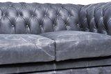Chesterfield Sofa Vintage Leder   2-Sitzer   Schwarz   12 Jahre Garantie_
