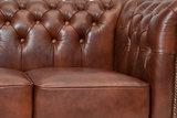 Chesterfield Sofa First Class Leder  2-Sitzer   Cloudy Braun Old   12 Jahre Garantie_