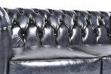 Chesterfield Sofa Original Leder |  1 + 2 + 3 Sitzer | Antik Blau |12 Jahre Garantie_