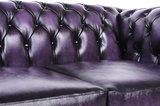 Chesterfield Sofa Original Leder |  1 + 2  Sitzer | Antik Violett |12 Jahre Garantie_