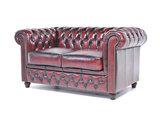 Chesterfield Sofa Original Leder |  2 + 3  Sitzer | Antik Rot |12 Jahre Garantie_