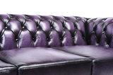 Chesterfield Sofa Original Leder    1+ 1 + 3  Sitzer   Antik Violett  12 Jahre Garantie_