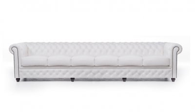 Chesterfield Sofa Original Leder | 6-Sitzer | Weiß | 12 Jahre Garantie