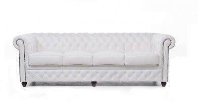 Chesterfield Sofa Original Leder | 4-Sitzer | Weiß | 12 Jahre Garantie