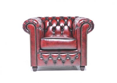 Chesterfield Sessel Original Leder | Antik Rot | 12 Jahre Garantie