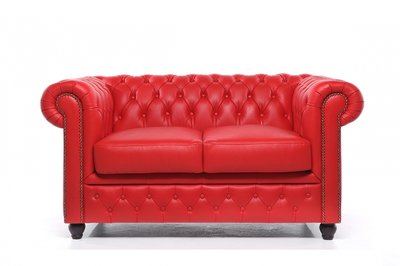 Chesterfield Sofa Original Leder | 2-Sitzer | Rot | 12 Jahre Garantie