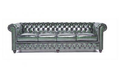 Chesterfield Sofa Original Leder | 4-Sitzer | Antik grün | 12 Jahre Garantie