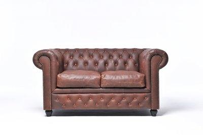 Chesterfield Sofa Vintage Leder | 2-Sitzer | Braun | 12 Jahre Garantie