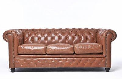 Chesterfield Sofa Vintage Leder | 3-Sitzer | Mokka | 12 Jahre Garantie