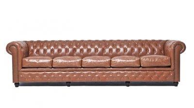 Chesterfield Sofa Vintage Leder | 5-Sitzer| Mokka | 12 Jahre Garantie