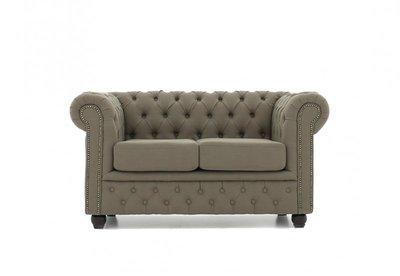 Chesterfield Sofa Original Stoff   2-Sitzer    Pitch Beige   12 Jahre Garantie