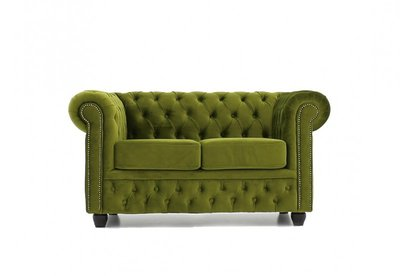 Chesterfield Sofa Original Samt   2-Sitzer   Grün  12 Jahre Garantie