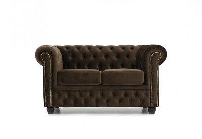 Chesterfield Sofa Original Samt   2-Sitzer   Braun   12 Jahre Garantie