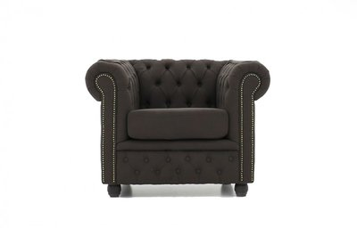 Chesterfield Sessel Original  | Stoff  | Pitch Braun | 12 Jahre Garantie