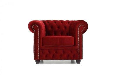 Chesterfield Sessel Original | Samt  |  Rot | 12 Jahre Garantie