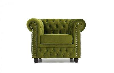 Chesterfield Sessel  Original | Samt |  Grün | 12 Jahre Garantie