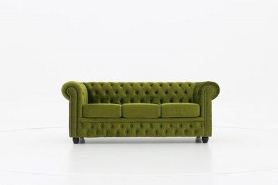 Chesterfield Sofa Original Samt   3-Sitzer    Grün   12 Jahre Garantie