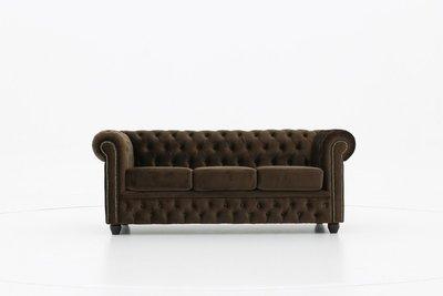 Chesterfield Sofa Original Samt  3-Sitzer     Braun   12 Jahre Garantie