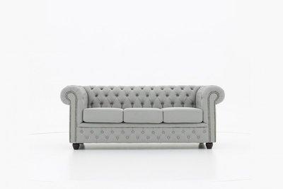 Chesterfield Sofa Original Stoff   3-Sitzer   Pitch Helllgrau   12 Jahre Garantie
