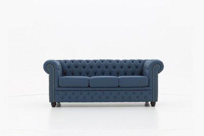 Chesterfield Sofa Original Stoff   3-Sitzer    Pitch Blau    12 Jahre Garantie