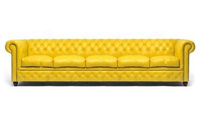 Chesterfield Sofa Original Leder | 5-Sitzer | Gelb | 12 Jahre Garantie