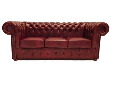 Chesterfield  Sofa Class Leder |3- Sitzer| Cloudy Rot | 12 Jahre Garantie