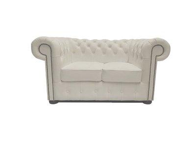 Chesterfield Sofa Class Leder |2-Sitzer | Weiß | 5 Jahre Garantie
