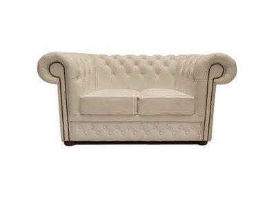 Chesterfield Sofa First Class Leder | 2-Sitzer | Weiß | 5 Jahre Garantie