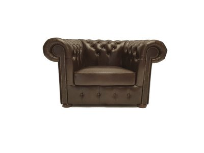 Chesterfield Sessel Class Leder | Sessel | Cloudy Braun Dark| 12 Jahre Garantie