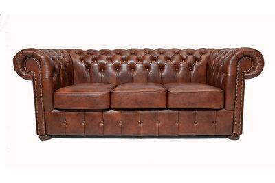 Chesterfield  Sofa Class Leder |3- Sitzer| Cloudy Braun Alt | 12 Jahre Garantie
