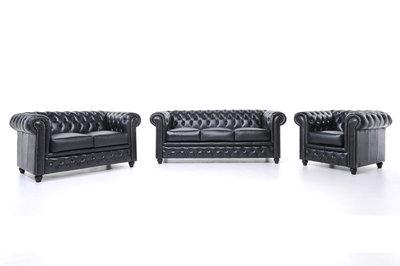 Chesterfield Sofa Original Leder |  1 + 2 + 3 Sitzer | Schwarz |12 Jahre Garantie