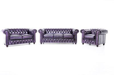 Chesterfield Sofa Original Leder |  1 + 2 + 3 Sitzer | Antik Violett |12 Jahre Garantie