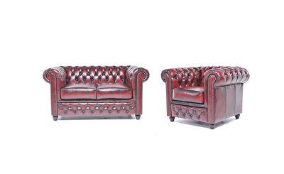 Chesterfield Sofa Original Leder |  1 + 2  Sitzer | Antik Rot |12 Jahre Garantie