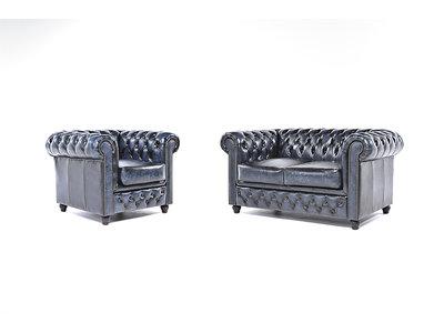Chesterfield Sofa Original Leder |  1 + 2  Sitzer | Antik Blau |12 Jahre Garantie