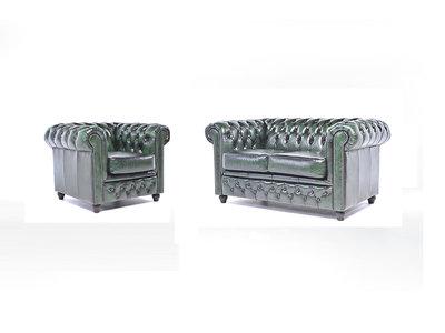 Chesterfield Sofa Original Leder |  1 + 2  Sitzer | Antik Grün |12 Jahre Garantie