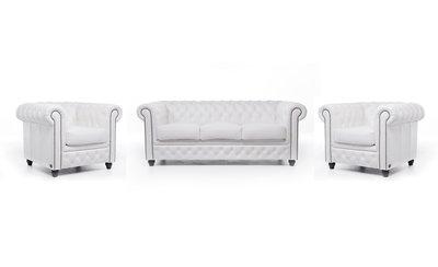 Chesterfield Sofa Original Leder    1+ 1 + 3  Sitzer   Weiß  12 Jahre Garantie