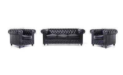Chesterfield Sofa Original Leder    1+ 1 + 3  Sitzer   Schwarz  12 Jahre Garantie