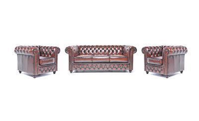 Chesterfield Sofa Original Leder |  1+ 1 + 3  Sitzer | Antik Braun |12 Jahre Garantie
