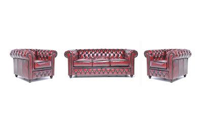 Chesterfield Sofa Original Leder    1+ 1 + 3  Sitzer   Antik Rot  12 Jahre Garantie