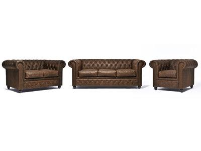 Chesterfield Sofa Vintage Leder C0869 | 1 + 2 + 3 Sitzer | 12 Jahre Garantie