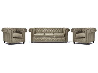 Chesterfield Sofa Vintage Leder Alabama C1057   1 + 1 + 3 Sitzer   12 Jahre Garantie