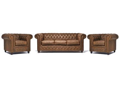Chesterfield Sofa Vintage Leder Alabama C1059   1 + 1 + 3 Sitzer   12 Jahre Garantie
