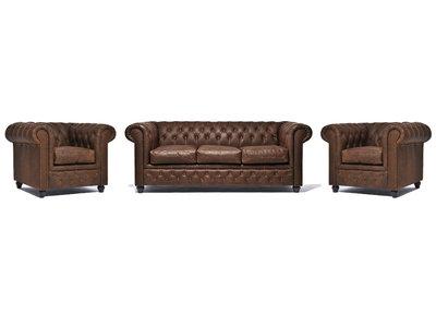 Chesterfield Sofa Vintage Leder C0869   1 + 1 + 3 Sitzer   12 Jahre Garantie