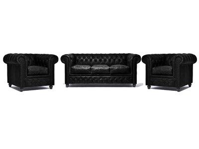 Chesterfield Sofa Vintage Leder C0871   1 + 1 + 3 Sitzer   12 Jahre Garantie