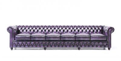 Chesterfield Sofa Original Leder   6-Sitzer   Antik violett   12 Jahre Garantie