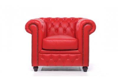 Chesterfield Sessel Original Leder   Rot   12 Jahre Garantie