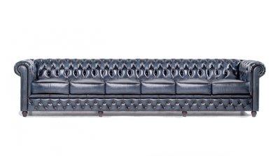 Chesterfield Sofa Original Leder | 6-Sitzer | Antik blau | 12 Jahre Garantie