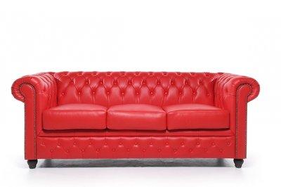 Chesterfield Sofa Original Leder | 3-Sitzer | Rot | 12 Jahre Garantie