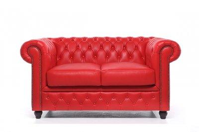 Chesterfield Sofa Original Leder   2-Sitzer   Rot   12 Jahre Garantie