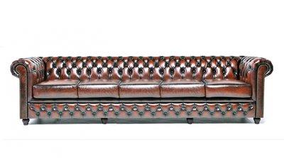 Chesterfield Sofa Original Leder| 5-Sitzer | Antik braun | 12 Jahre Garantie